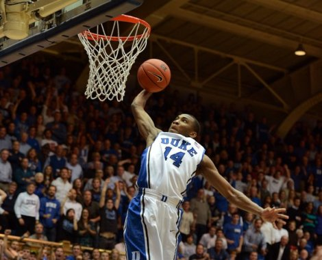 Rasheed Sulaimon goes in for an uncontested dunk during Duke's 73-68 win over Ohio State on Wednesday night at Cameron Indoor Stadium.