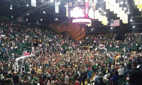 The scene at Moby Arena following the Rams' 65-64 victory over rival Colorado in December 2011.