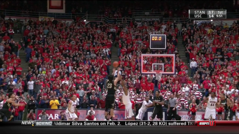 Sabatino Chen's controversial last second shot against Arizona on Jan. 3, 2013 was called back after officials reviewed the play on a sideline monitor. This picture would suggest that the officials made the incorrect call. The Buffaloes would lose the contest in overtime, 92-83.